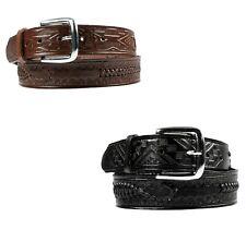 Men's Western Cowboy Belt Woven Scorpion Design Genuine Leather