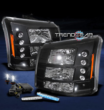 2003-2006 CHEVY SILVERADO AVALANCHE LED BLACK CRYSTAL HEAD LIGHT+BLUE DRL+6K HID