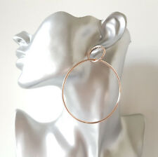 Gorgeous 8.5cm long gold tone double hoop DROP earrings - Big & fab!  #M03