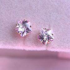 18k rose gold gp 925 silver made with Swarovski flower earrings pink flower 5mm