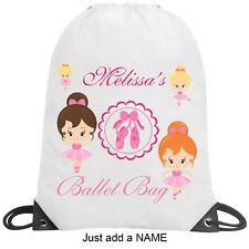 Ballet Dance Shoe Personalised School Gym PE Nursery Drawstring Pink Bag Gift