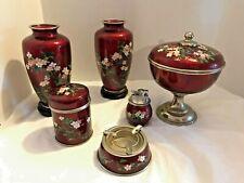 Vintage JAPANESE CLOISONNE WARE SET (Vases, bowl, and smoking set)-DR4