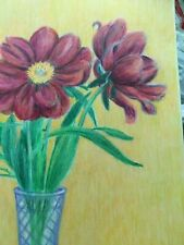 colored pencil drawing flowers peony flowers in vase