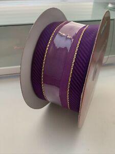 Kirkland Signature Ribbon Purple Gold Stripe Wire Edged 2.5 Inch half full
