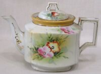 Vintage Teapot Ceramic Handpainted Pink Flowers Made in Japan Gold Trim