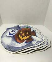 VTG Halloween Placemats Ghost Pumpkin Jack o Lantern Vinyl S/4 80s 90s Kitschy