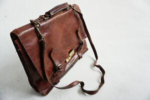 Vintage Ledertasche, braun, Umhängetasche, Schultasche 40x28x7cc