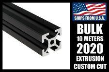 BULK! 10 Meters Custom Cut to Length BLACK 2020 Series Aluminum T-slot Extrusion