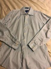 EGARA Button Down Shirt Mens Size 16 34-35 Light Blue Egyptian Cotton