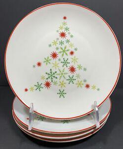"4 Crate & Barrel Snowflakes Christmas Tree Salad Plates 7"""