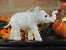White Sparkly Glittery White Elephant Christmas Holidays Ornament-Beautiful!
