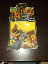 VINTAGE 1970'S ANIMAL KINGDOM PLASTIC TOY FIGURES SEALED LION TIGER