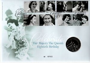 GB 2006 COVER QUEENS 80TH BIRTHDAY WITH £5 COIN