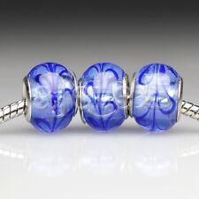 5pcs Murano Glass European Spacer Beads Lampwork Fit Bracelet Chain LB0099 FB