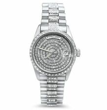 Mens President 14k White Gold 5ct Diamond Automatic Watch 123 Grams