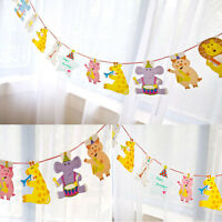 Birthday Baby Shower Decorations Flag Banner Bunting Animal Party Decor