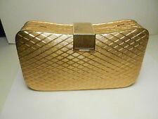 Wolborg Gold Metal Gilt Hard Case Clutch Bag/Crossbody Purse Made in Italy VTG