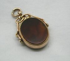 1906 Large Edwardian 9ct Rose Gold Mounted Bloodstone And Carnelian Spinner Fob