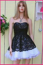 $428 BETSEY JOHNSON SILK LACE TULLE BLACK PARTY FORMAL DRESS NIGHT  STRAP (6/XS)