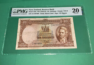 PMG New Zealand, Reserve Bank 10 Shillings Banknote 1940-55 p158a VF20
