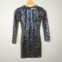 Dress the Population Women's Paillette Sequin Black Mini Dress Size XS