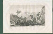 SUBIACO (Roma). Veduta generale.  Da Italie Pittoresque, anno 1836