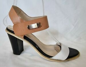 Jo Mercer Ladies Shoes Size Eur 38 US 7.5 Leather Heels Strappy Sandals