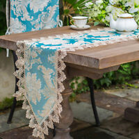 Lace Floral Embroidery Table Runner Banquet Wedding Party Home Table Decoration