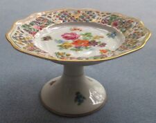 Schumann Arzberg Germany Chateau Dresden Flowers Pierced Compote Heavy Gold