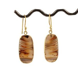 Good Selling Genuine Agate Slice Yellow Gold Plated Drop Dangle Earring Pairs