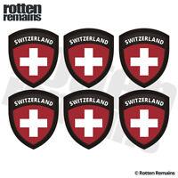 """Switzerland Flag Shield Decal Sticker 6 Pack 2""""x1.6"""" Badge Swiss Vinyl V2 ZU1"""