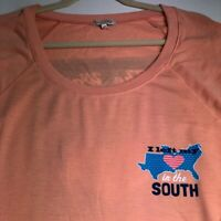 I Left My Heart South Women's Long Sleeve T Shirt Tee 2X Plus Orange Multicolor