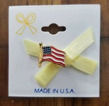 pin. Mint. Never removed from tag 90s Yellow Ribbon and American Flag lapel