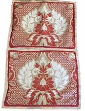 Martha Stewart Collection Empire Court 2 Standard Shams Red Tan Fleur de Lis