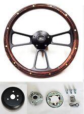 "Bronco F100 F150 F250 F350 Steering Wheel 14"" Mahogany Wood on Black Ford Cap"