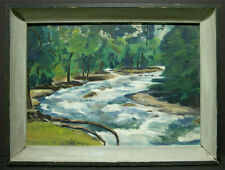 c1950 Pair of Paintings in One Frame, Creek Landscape & Windmill Signed C.E. Col