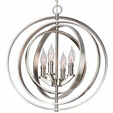 "Orbits 18"" 4-Light Modern Sphere/Orb Chandelier, Brushed Nickel Finish"