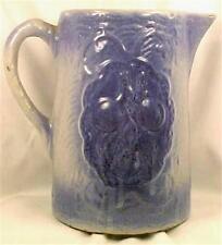 Hull Apricot Salt Glaze Water Pitcher Stoneware Blue Gray Antique Primitive