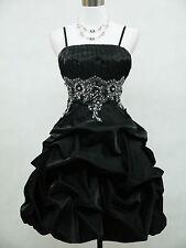 Cherlone Satin Black Sparkle Prom Ball Cocktail Party Bridesmaid Evening Dress