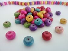 60 pce Colour Mix Synthetic Howlite Gemstone Abacus Beads 10mm x 6mm