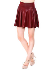 Faux Leather Vintage Stretch High Waist Skater Flared Plaeted Skirt Mini Dress