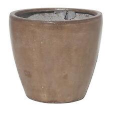 27cm CLEARANCE Brown Fibreglaze Round Planter/Flower Pot/Plant Pot/Tub