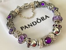 "EUROPEAN STYLE CHARM BRACELET with BEADS, Safety Chain, 8.3"" Long+VELVET POUCH"