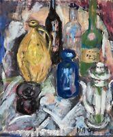 Stillleben mit Flaschen Kanne Moderne Kunst 2004 Expressiv 71 x 61 cm