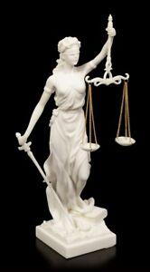 Weiße Justitia Figur - Göttin der Gerechtigkeit - Griechisch Statue Recht