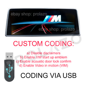 BMW NBT and EVO CUSTOM CODING via USB / disable disclaimers, M startup logo VIM