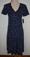 New Izod Dress Blue White Stars Patriotic Faux Wrap V-Neck Cotton Stretch Small