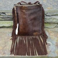 Vintage Western Hair on Cowhide Brown Suede Leather Hippie Shoulder Tote Handbag
