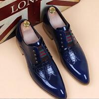 Fashion Mens Patent Leather Formal Pointy Toe Lace up Dress Oxford Wedding Shoes