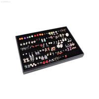 93BF Soft Black Ring Earrings Necklace Velvet Jewellery Display Storage Case Hol